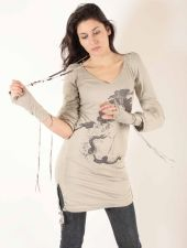 Long Sleeved V Top/Dress - Silver Grey - 25.00&nbsp;&euro;