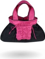 """Bersache"" - Raw Silk Handbag - Black-Fushia Pink - 33.00 €"