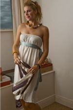 Bustier Dress w silk belt - Taupe - 40.00 €