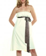 Bustier Dress w silk belt - Cream - 40.00&nbsp;&euro;
