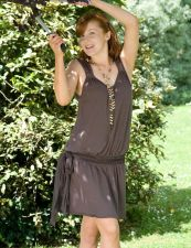 Drop Waisted Mini Dress - Taupe Brown - 45.00&nbsp;&euro;