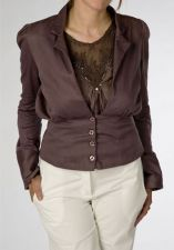 Satin Cotton Jacket - Taupe Brown - 40.00&nbsp;&euro;