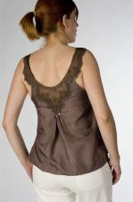 Silk &amp; Lace Top - Taupe Brown - 50.00&nbsp;&euro;