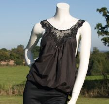 Silk &amp; Lace Top - Black - 50.00&nbsp;&euro;