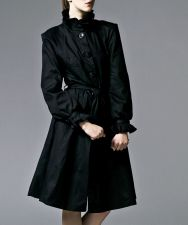 Ruffle Coat with Swing Skirt - Jet Black - 125.00 €