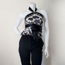 Silk Scarf Top - Black - Size S - 35.00€