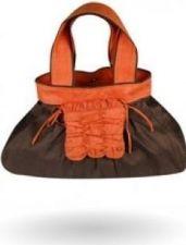 """Bersache"" - Raw Silk Handbag - Brown & Orange - 28.00€"